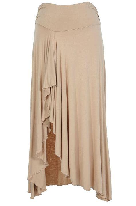 side slit ruffle maxi skirt in beige boutique