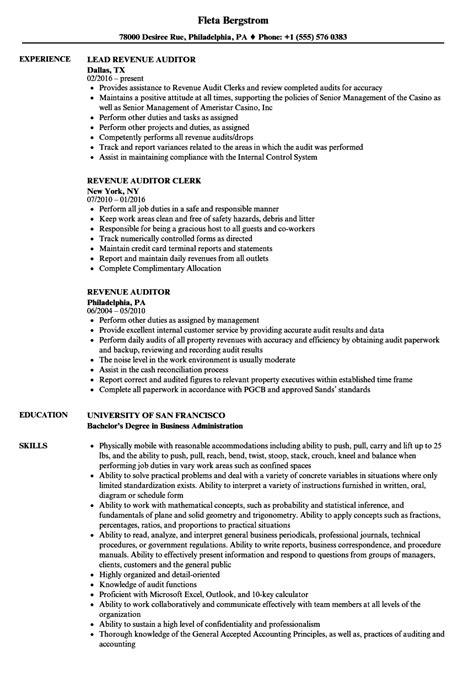 Revenue Auditor Sle Resume by Revenue Auditor Resume Sles Velvet