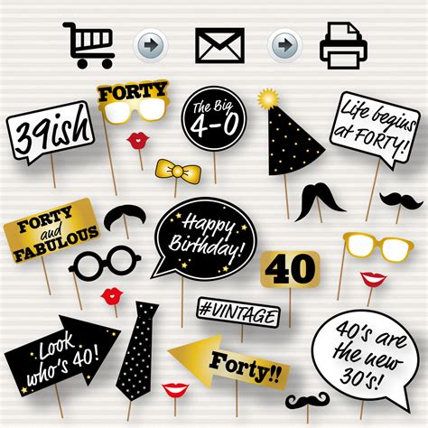 printable photo booth props birthday 40th birthday party printable photo booth props glasses