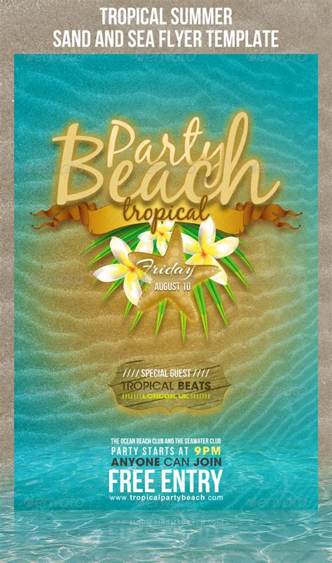 summer c flyer template tropical summer sand and sea flyer template graphicriver