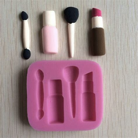 P1054 Make Up Tools And Lipstick Silicone Mold Silicone 3d Makeup Tools Design Fondant Cake Molds
