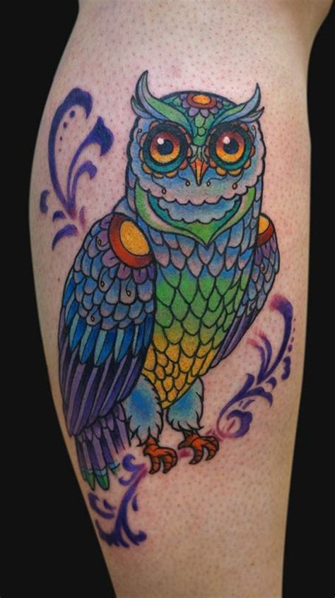 colorful owl tattoo 30 spectacular owl ideas
