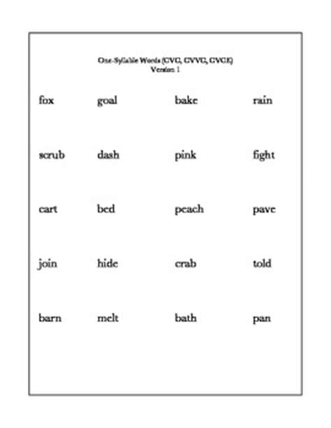cvvc pattern words list decoding quick assessment cvc cvvc cvce words by ms