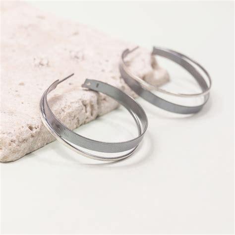 Hoop Stud Earrings silver handmade hoop stud earring summer and silver
