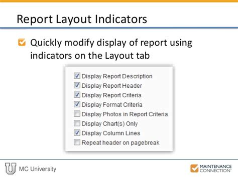 layout of a university report r04 basics of reporting report setup part 2 mcu