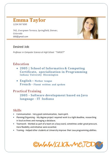 Resume Format Doc sle cv for freshers resume doc pdf