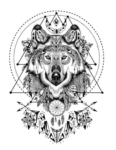 animal tatoo ebook boho wolf with sacred geometry adult coloring book page