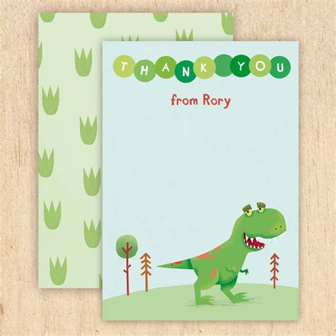 dinosaur thank you card template personalised dinosaur thank you cards by made by ellis