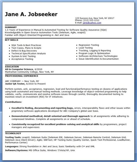 sle software tester resume qa software tester resume sle entry level creative