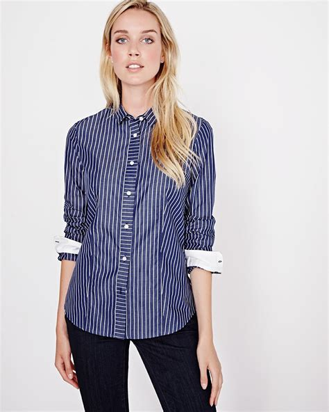 Pinstriped Blouse pinstripe poplin blouse rw co