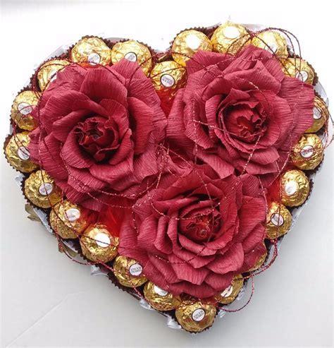 Valentine's Day Heart Ferrero Rocher Candy Flower Bouquet