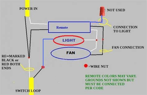 wiring diagram for a ceiling fan remote