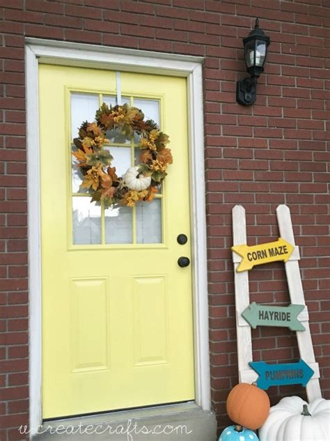yellow front door makeover  create