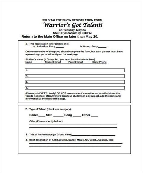 talent show registration form template student registration form template pictures