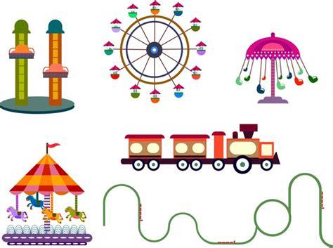 theme park vector amusement park design elements various games sketch free