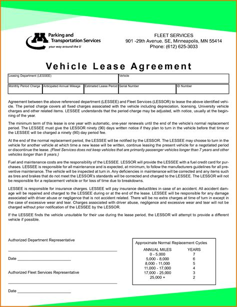 auto lease template vehicle lease agreement templatereference letters words
