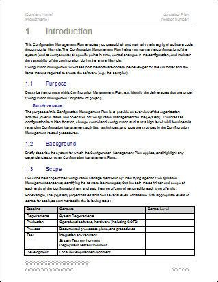 management plan template configuration management plan 24 page ms word