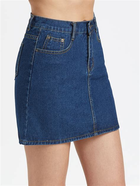 blue a line denim skirt