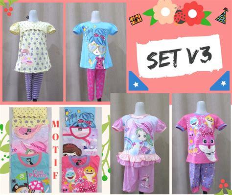Dnc12 Set Baju Setelan Anak Perempuan 3 4 5 Tahun Cewek sentra grosir setelan v3 karakter anak perempuan murah mulai 24ribu