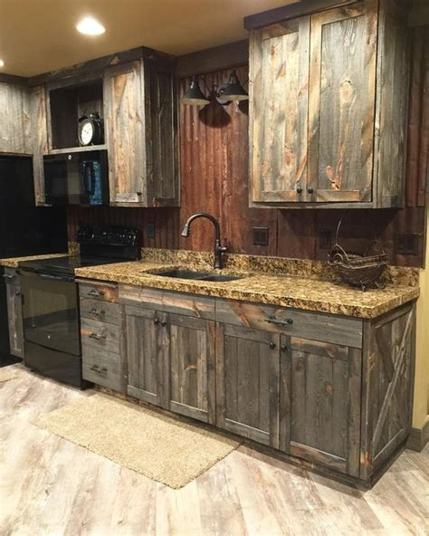 how to make cabinets look rustic a little barnwood kitchen cabinets and corrugated steel