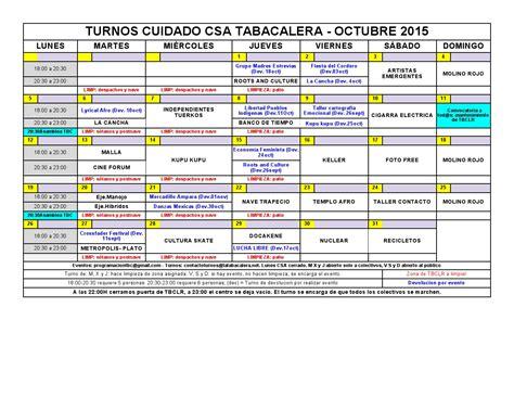 Calendario T C 2015 Csa La Tabacalera Calendario2015 Oct 2015