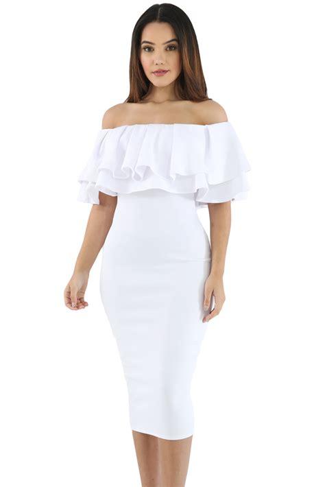 Layered Ruffle Dress white layered ruffle shoulder midi dress charming wear
