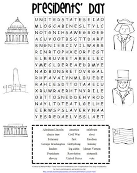 printable word search presidents day printable file folder games other fun classroom