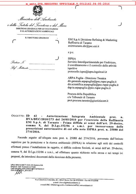 lettere di diffida eni taranto il ministero dell ambiente notifica