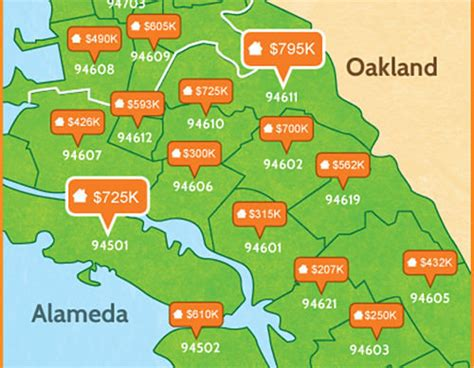 oakland zip code map oakland home prices median mapping live oakland