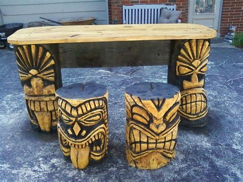 Tiki Totem Bar Stools by Carved Tiki Bar Stools Woodworking Projects Plans