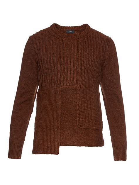 Patchwork Sweaters - joseph patchwork wool knit sweater in brown for lyst