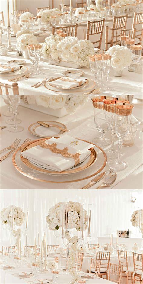 rose gold and ivory wedding reception decor   OneWed.com