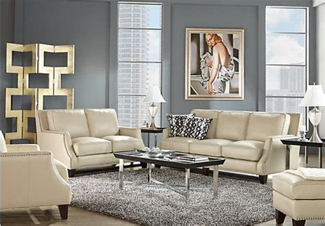 shop for a sofia vergara bal harbour 5 pc beige leather