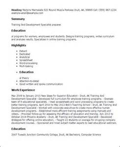 Sample Resume Objectives For Training Specialist by Professional Training And Development Specialist Templates