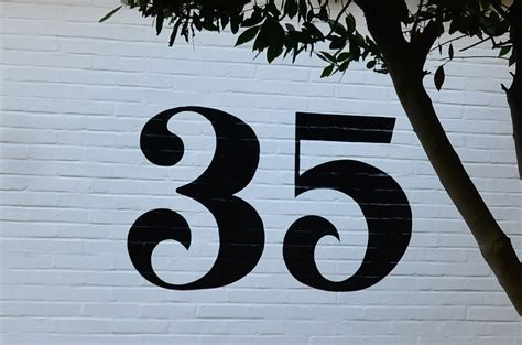 Split House number 35 painted house number steve blackwell signs