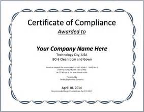Certification Letter Of Compliance Compliance Certificate Template Microsoft Word Templates