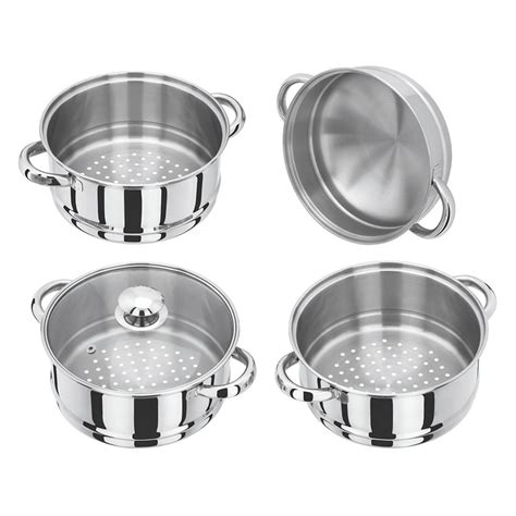 induction hob cookware 4 tier 24cm stainless steel induction hob steamer cookware pot pan set with glass lid dny