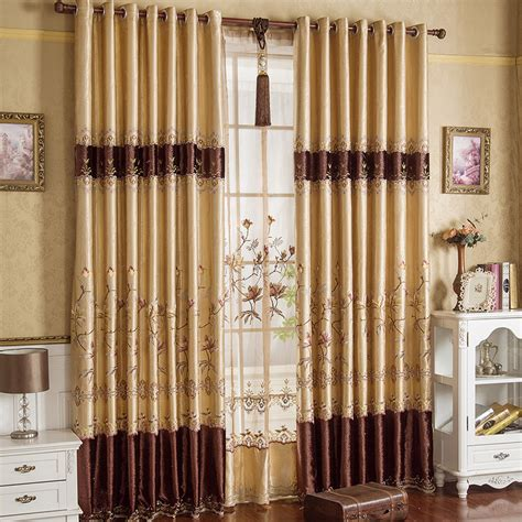 gold curtains bedroom gold floral embroidery faux silk luxury bedroom curtains