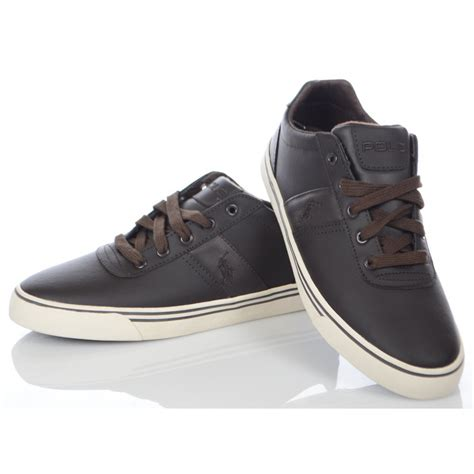 ralph shoes brown hanford leather trainer