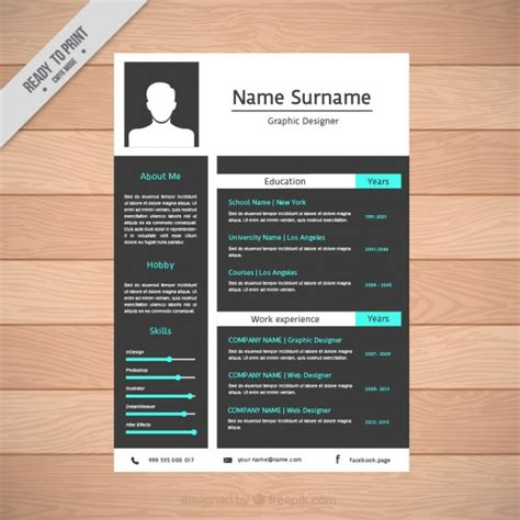 Resume Templates Flat Design Resume Template In Flat Design Vector Free