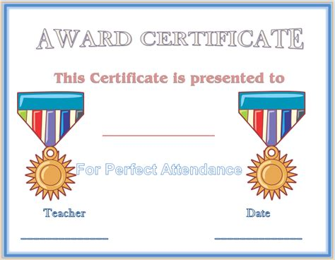 attendance award certificate templates attendance award cake ideas and designs