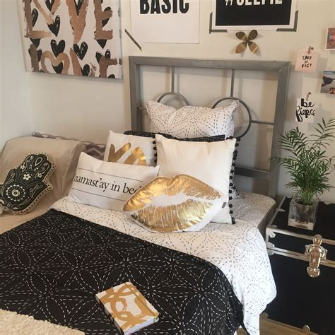 black and gold themed bedroom black gold dormify com dorm tours pinterest black gold gold and bedrooms