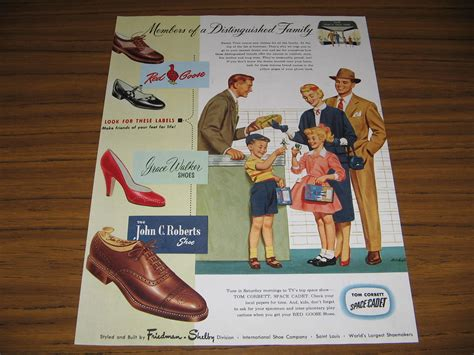 1954 vintage ad goose shoes children hold tom corbett