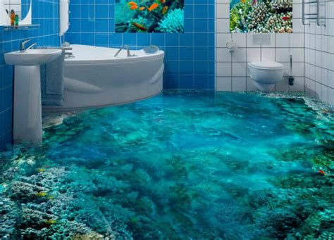bathroom floor 3d art these 3d underwater scenes on bathroom floors don t look real