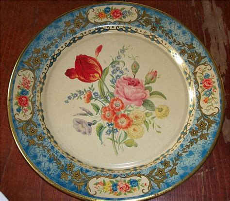 Gorgeous Botanical Plates by Items Similar To Antique Daher Tin Plate Beautiful