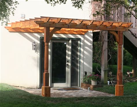 eyebrow pergola kits wall mount 10 x 10 cedar 2 beam