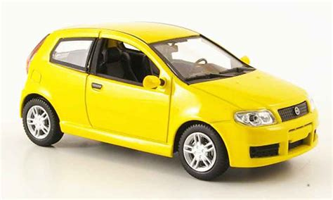yellow fiat punto fiat punto sporting yellow mcw diecast model car 1 43