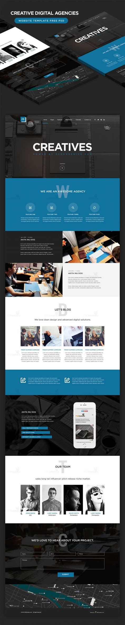 Creative Digital Agencies Website Template Free Psd Download Download Psd Digital Agency Website Templates