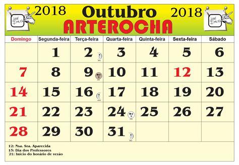 Calendario 2018 Mes De Outubro Arterocha Calend 193 Mes De Outubro 2018