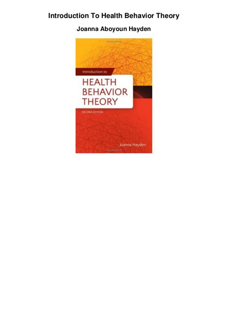 introduction to health behavior theory books introduction to health behavior theory